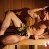 One of naked boys in sauna - sweaty and hot!
