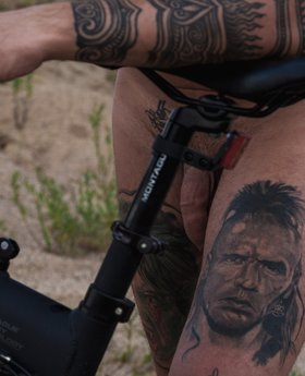 Inked cyclist and his uncut cock pictures