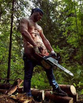 From shirtless woodcutter to naked man in the woods