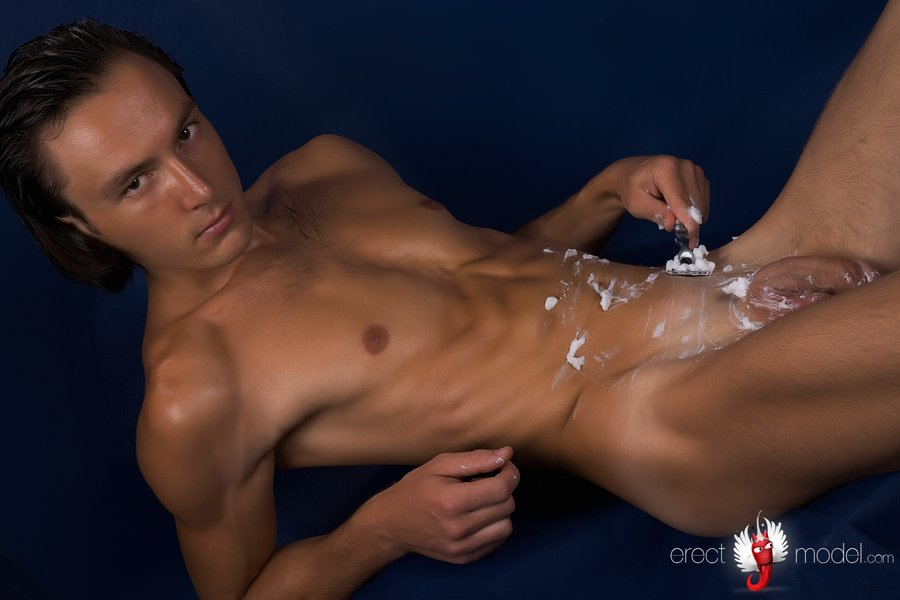 Shaving dick and washing it with foam
