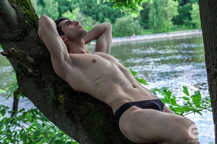 Hot man in tight briefs posing outdoor gay pics