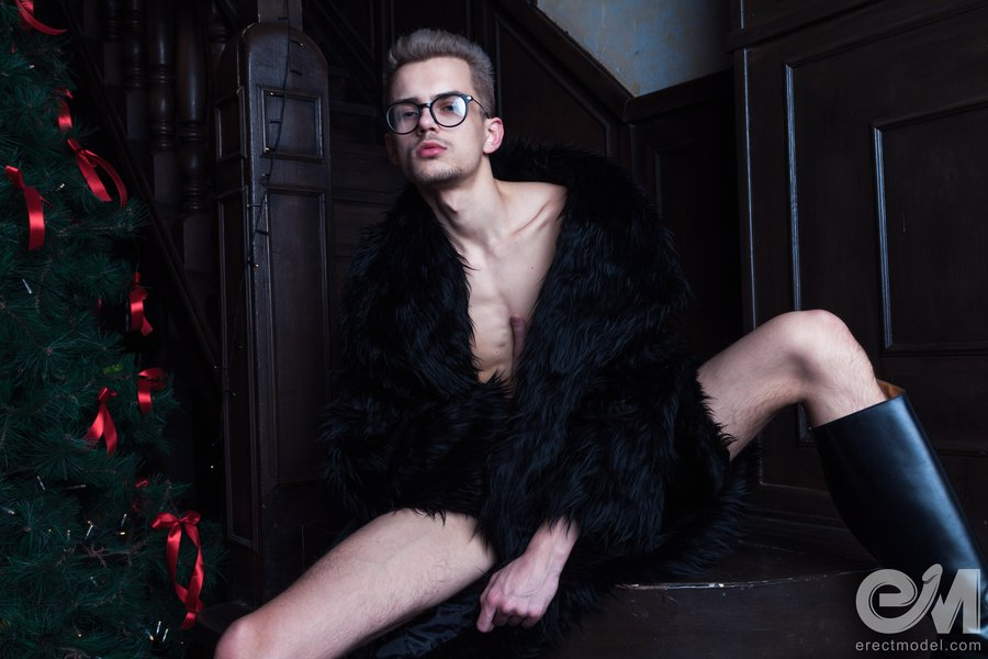 Gay twink boy nude in fur coat