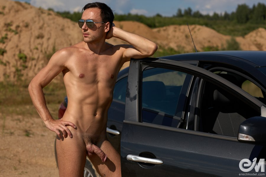 Erotic gay photography with nude male car