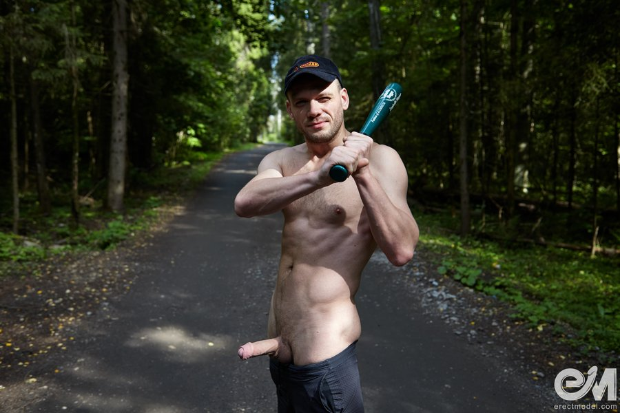 Gay baseball bat porn featuring monster uncut dick