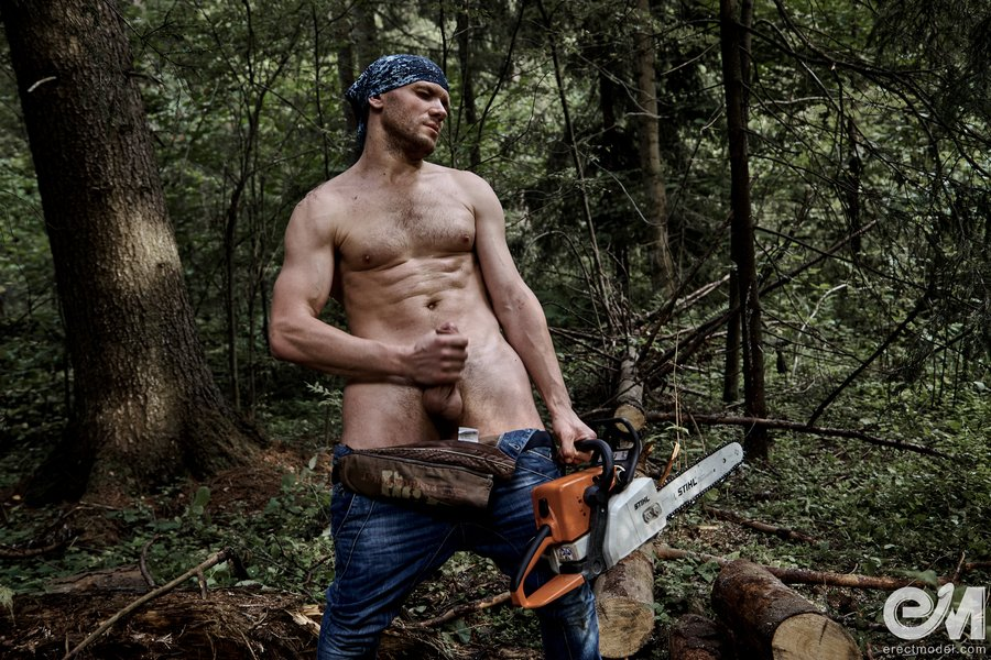 Lumberjack xxx white monster penis and chainsaw in work