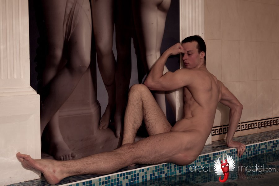Nude male pool sensual posing