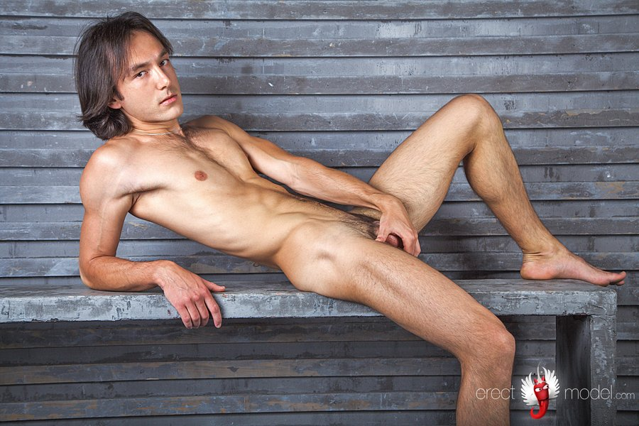 Nude hairy man in jeans and undressed