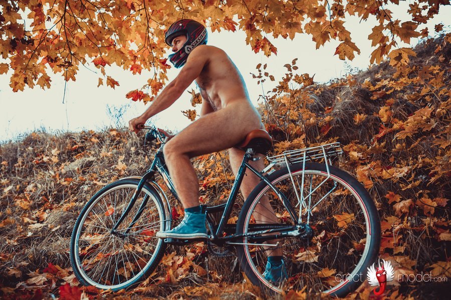 Sexy male biker with penis in erection