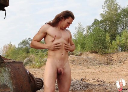 Long hair male striptease video