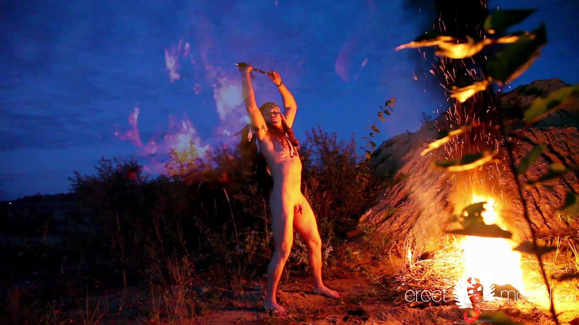 American indian nude and excited by his ritual dance