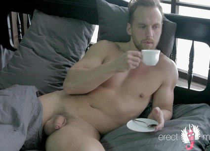 Nude guy video - erection in bed