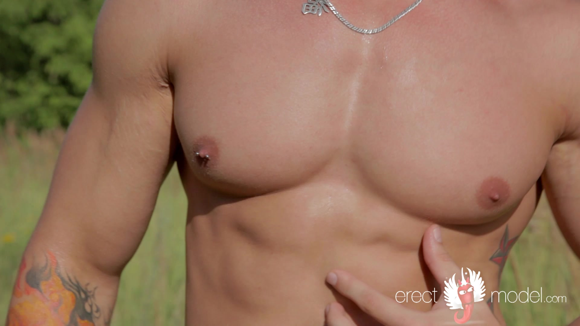Nude baseball player with perfect body