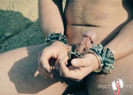 Handcuffed handjob in male bdsm video