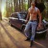 Hot guy in jeans repairing car and undressing