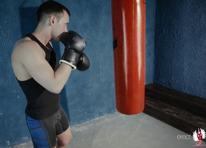 Boxing gay porn finished with handjob in boxing gloves