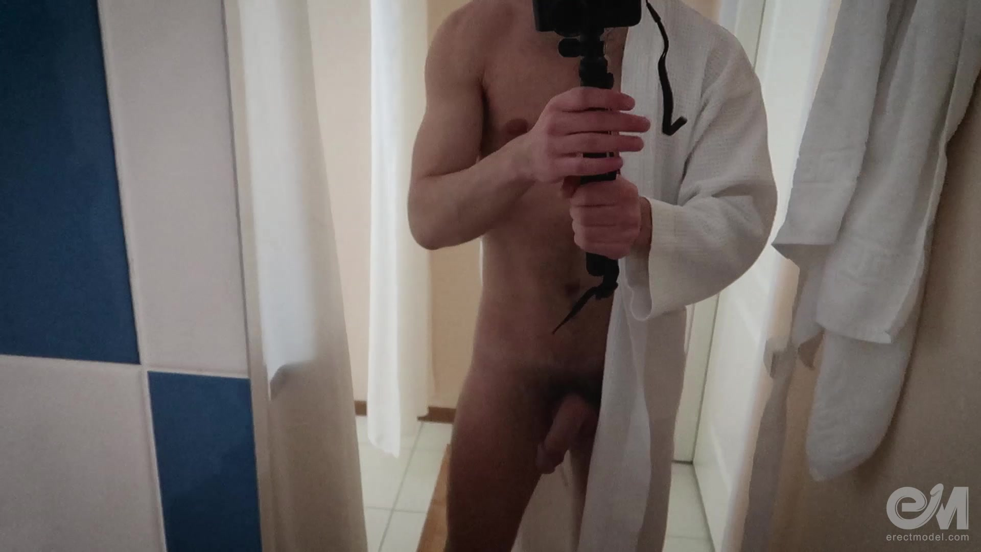 Guy naked selfie video with wet hard cock