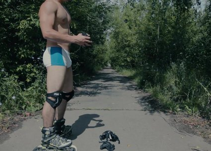 Gay speedo bulge of a cute teen roller skates boy