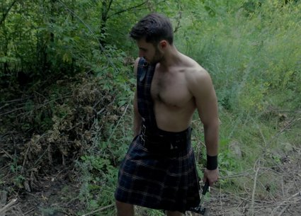 Playing with a cock under the scottish kilt