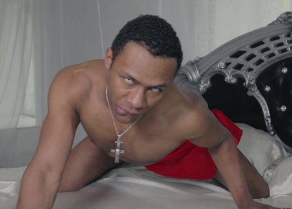 Black man in bed sensual movements