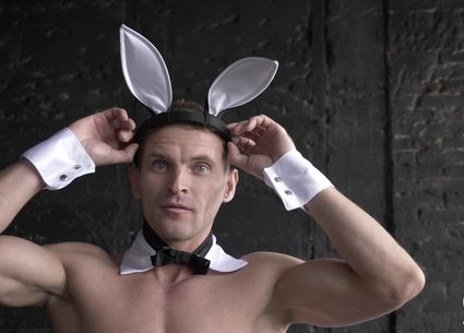 Male stripper dance in a sexy bunny costume