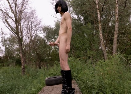 Backstage gay video with tranny twink in high heels