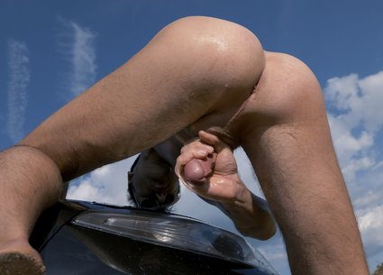 Outside car wash ended with biggest gay cumshot