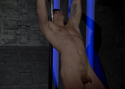 Young male stripper pole dancing to full nudity