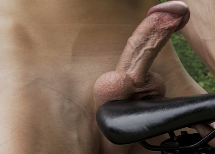 Riding bike with male anal sex toy and getting gay orgasm video