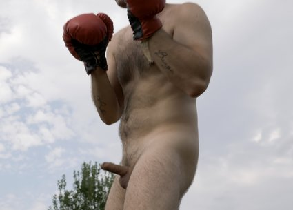 Naked boxer having intense male orgasm video after workout